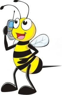 cartoon honeybee standing holding a cell phone up to head