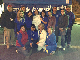 group of public health employees at vaccination event