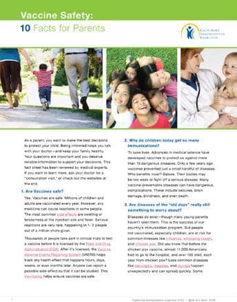 Vaccine Safety: Facts for Parents Flyer, click to view document