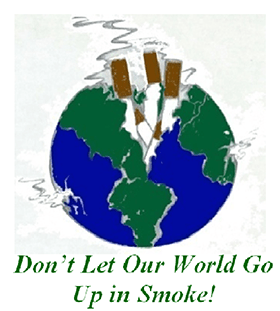 Tobacco Coalition logo, earth broken in half with cigarettes coming through core,