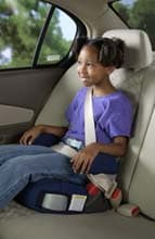 Young child in a car seat/booster seat