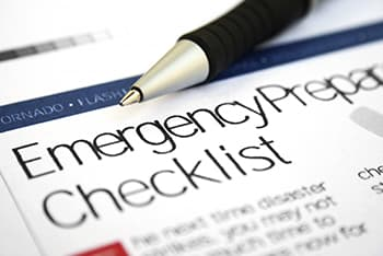 close up image of paper with header of Emergency Preparedness Checklist