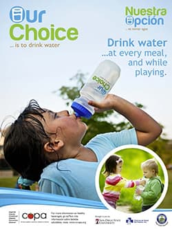 our choice promotional flyer displaying the Our Choice logo with a young girl exhausted girl drinking from an Our Choice water bottle
