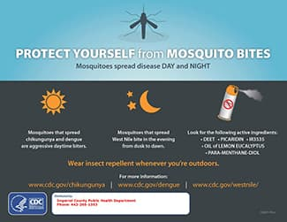 Protect yourself from mosquito bites CDC advertisement with steps to prevent bites