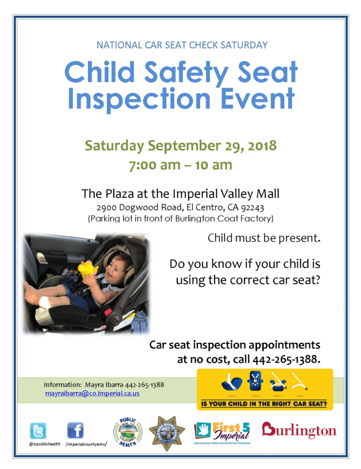 Child Safety Seat Inspection Event Flyer