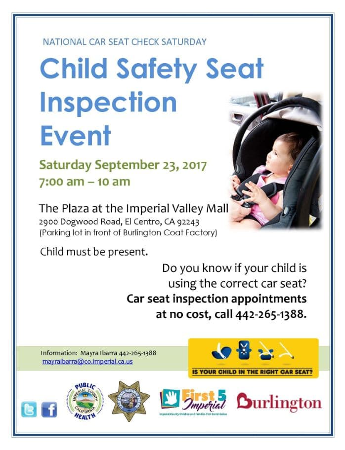 Child Safety Seat Inspection Event Flyer English
