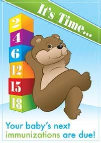 vaccine reminder postcard with a bear sitting next to stacking number blocks