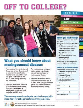 "Meningococcal ""Off To College"" Flyer"