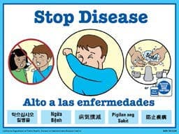 Stop Disease sign with steps