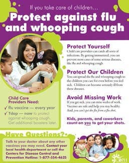 Childcare Worker Flu & Whooping Cough Flyer