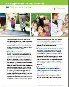 Vaccine Safety: Facts for Parents Flyer Spanish, click to view document
